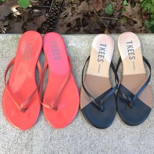 2 Pairs of TKEES patent leather Flip Flops, sz 6